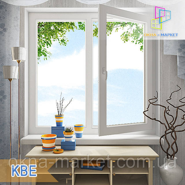 """Двустворчатые окна КВЕ 58, 70. 1200х1400 (стеклопакет однокамерный, двухкамерный). """"Окна Маркет"""""""
