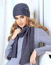 Красивый комплект из шапочки и шарфа, украшенных пайетками. от Kamea - Alina