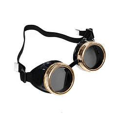 Очки Стимпанк Гогглы (черные с золотом)