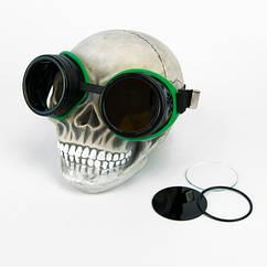 Очки Стимпанк Гогглы Авиаторы (черные с зеленым)
