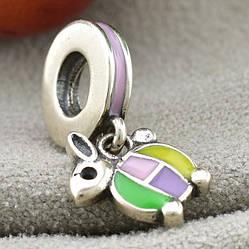 Срібний шарм-підвіска 18х8 мм кольорова емаль вага срібла 1.6 г