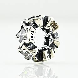 Срібний шарм для Pandora розмір 9х4 мм вага 0.83 г вставка білі фіаніти