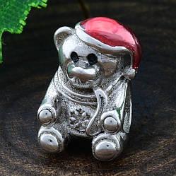 Срібний шарм Ведмедик розмір 13х8 мм вставка червона емаль вага 3.16 г