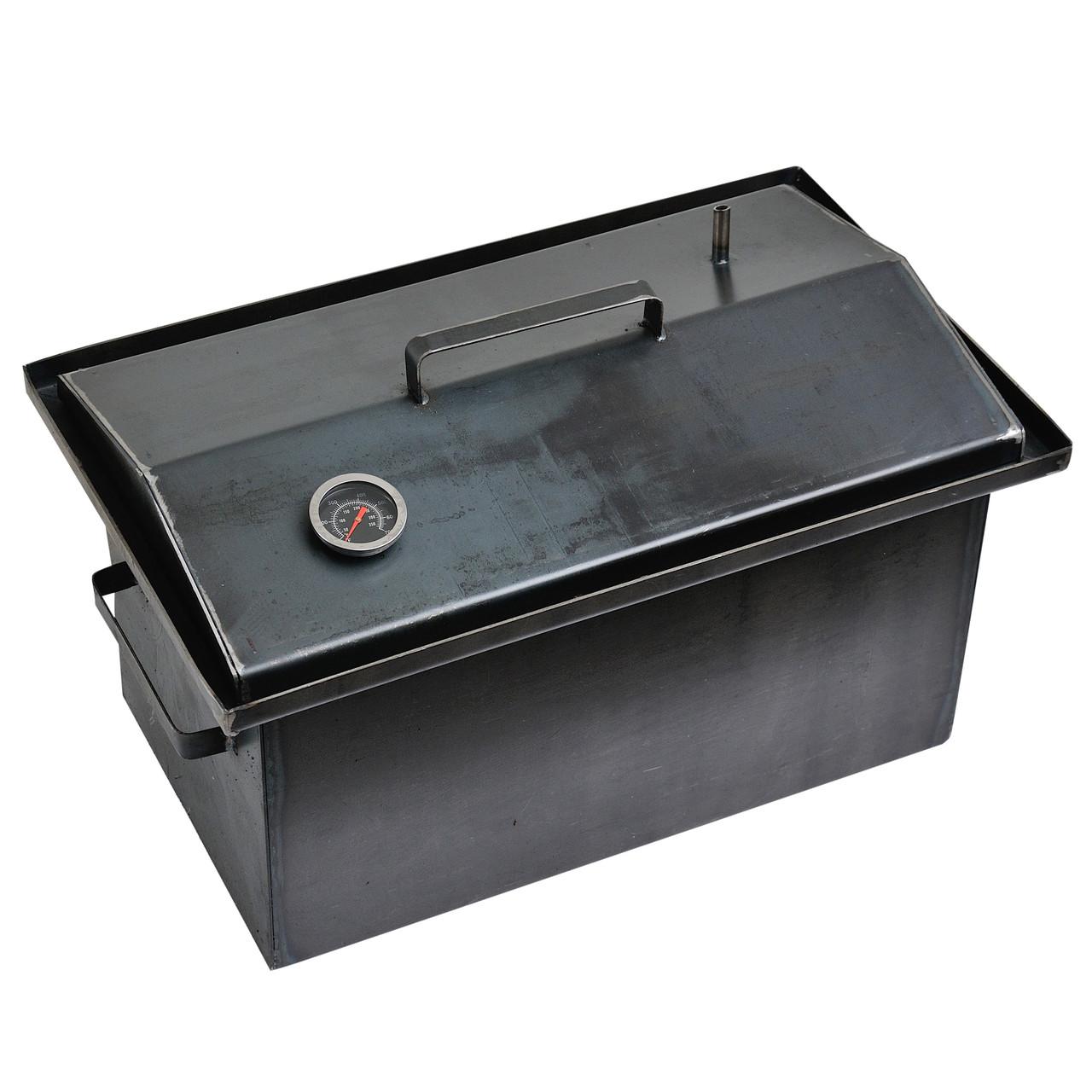 Коптильня гарячого копчення 2мм 460х260х240мм з термометром (каганець,каптилка)