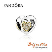 Pandora шарм СОЮЗ ЛЮБЯЩИХ СЕРДЕЦ #791806CZ серебро 925 Пандора оригинал, фото 1