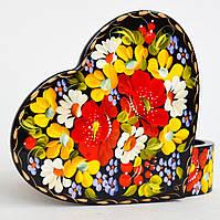 Украинский сувенир. Шкатулка для украшений. Мак, ромашка, незабудка.