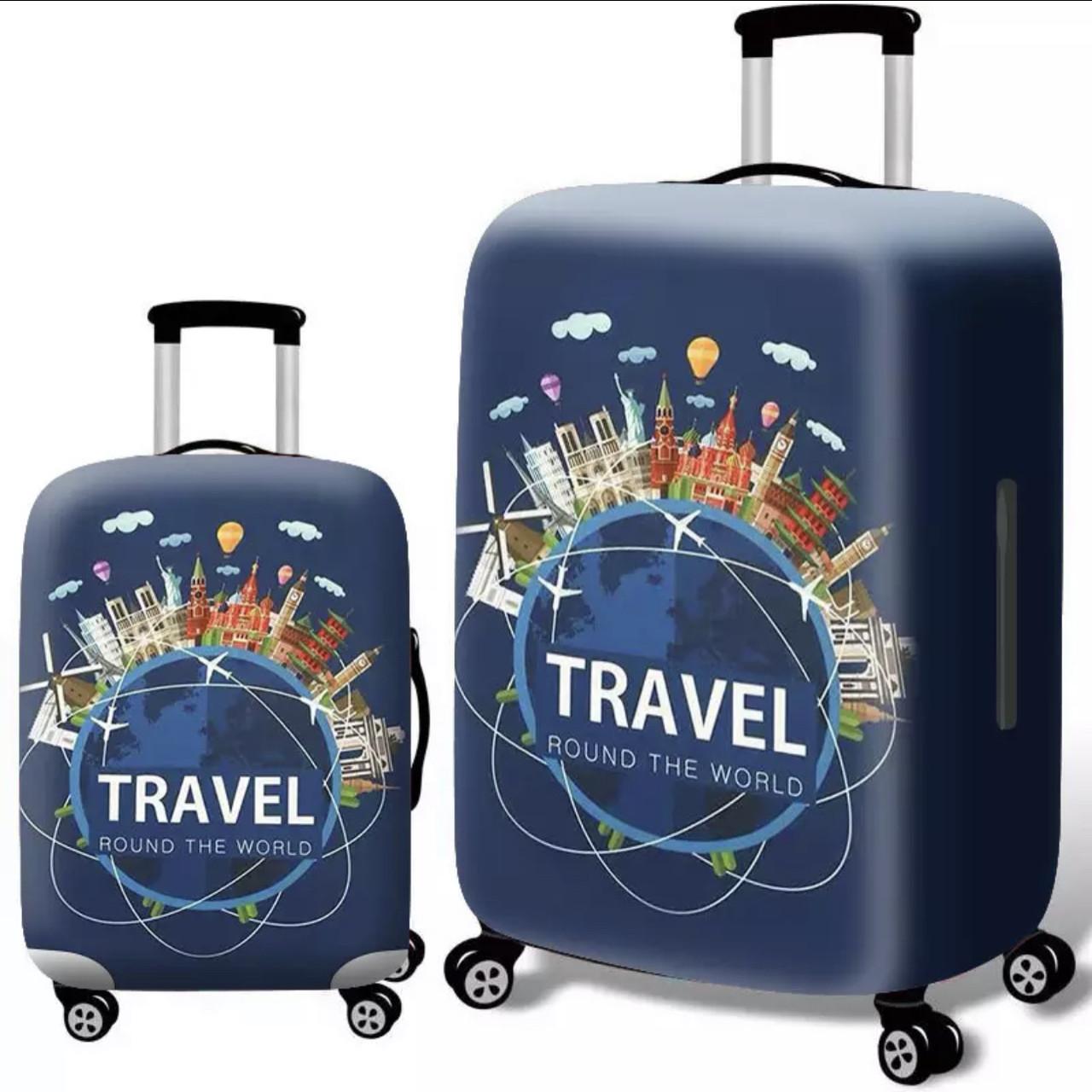 Чехол синий на средний чемодан М  с Travel