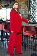 / Розмір 44,46,48,50 / Жіночий офісний костюм піджак з брюками / колір червоний, фото 2