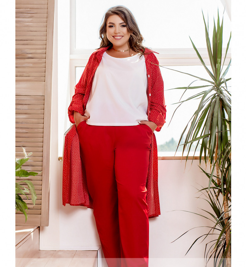/ Розмір 44,46,48,50 / Жіночий офісний костюм піджак з брюками / колір червоний