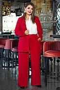 / Розмір 44,46,48,50 / Жіночий офісний костюм піджак з брюками / колір червоний, фото 3