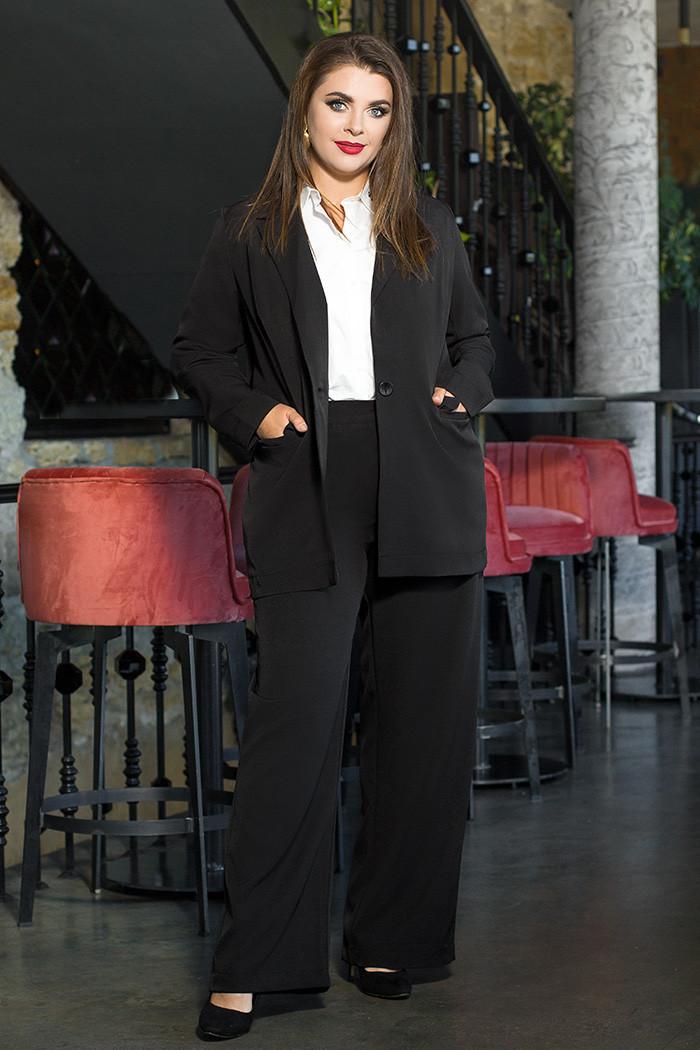 / Розмір 44,46,48,50 / Жіночий офісний костюм піджак з брюками / колір чорний