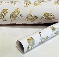 Подарочная бумага белая с золотыми тиграми 10 метров намотка/70см, фото 1