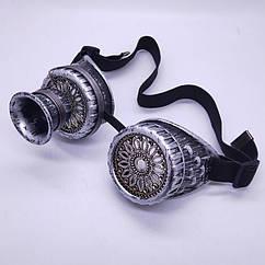 Очки Стимпанк Гогглы с моноокуляром (серебро антик)