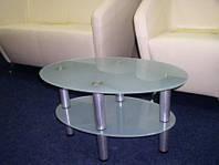 Журнальный стеклянный столик  Эллипс-мини с калённым стеклом