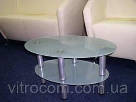 Журнальний скляний столик Еліпс-міні з каленным склом