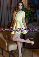 Женский лимонный костюм двойка пиджак+юбка