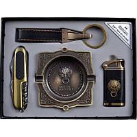 Подарочный набор, зажигалка + нож + брелок + пепельница