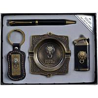 Подарочный набор, зажигалка + ручка + брелок + пепельница