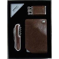 Подарочный набор, зажигалка + нож + визитница