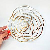Накладка в виде Розы, 1 шт, размер 20 см. Цвет золото. Диаметр центра 6 мм
