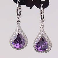 Серьги с кристаллами Сваровски, фиолетовые