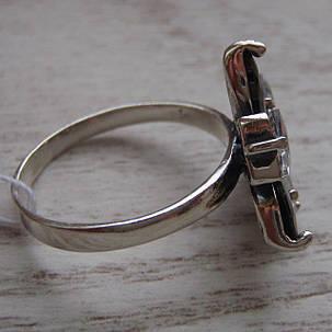 Серебряное кольцо с прозрачными и черными фианитами, 7 камней, фото 2