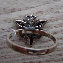 Серебряное кольцо с прозрачными и черными фианитами, 7 камней, фото 3