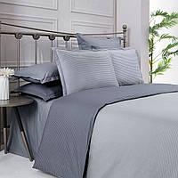 Комплект постельного белья 200*220 страйп поплин Серый