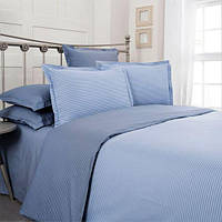 Комплект постельного белья 200*220 страйп поплин Синий