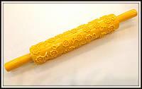 Скалка текстурная с ручками Цветочки