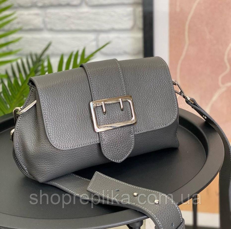 Шкіряна м'яка жіноча сумка сіра на широкому ремінці сильна модна крос боді якісна Італійська
