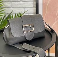 Шкіряна м'яка жіноча сумка сіра на широкому ремінці сильна модна крос боді якісна Італійська, фото 1