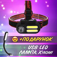 Фонарь налобный BL-611-1LM+2COB, ЗУ micro USB, 1x18650 (com)