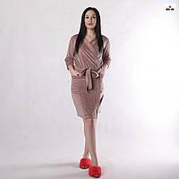 Халат жіночий велюровий на запах однотонний з кишенями 42-56р.