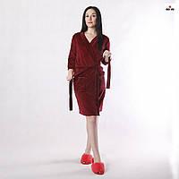 Халат жіночий велюровий бордовий на запах однотонний з кишенями 42-56р.