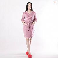 Халат жіночий теплий домашній велюровий однотонний з кишенями рожевий 42-56р.