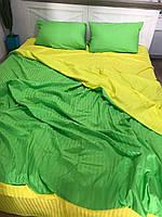 """Двухцветное хлопковое постельное белье из ткани страйп-сатин цветов """"желтый + салатовый"""""""