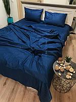 """Хлопковое постельное белье из ткани страйп-сатин цвета """"синий"""""""
