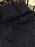 """Бавовняна постільна білизна зі тканини страйп-сатин кольору """"чорний"""""""
