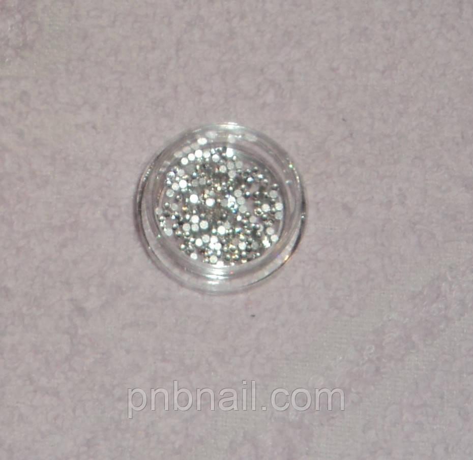 Стразы, стекло (аналог Swarovski) SS3 - 1.2мм, прозрачные,700 шт. в баночке