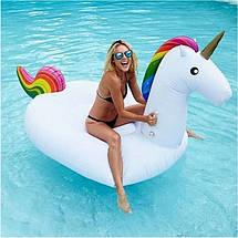 Оригинальный яркий пляжный Надувной матрас единорог, большой детский плот для плавания круглый   ТОЙС, фото 3