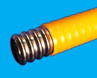 """Гофрированная труба из нержавеющей стали для газа  в оболочке 1/2""""  SS304 , отожженная, желтая"""