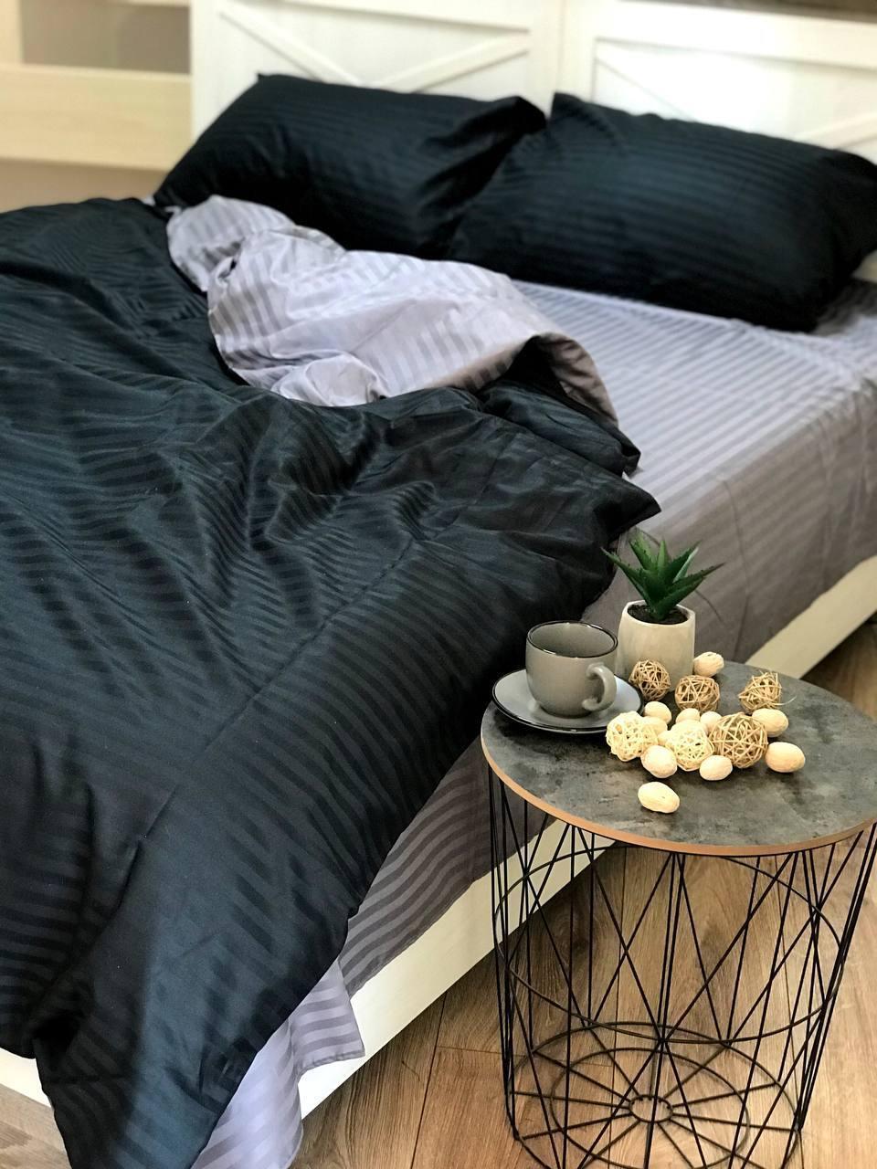 """Двухцветное хлопковое постельное белье из ткани страйп-сатин цветов """"черный + серый"""""""