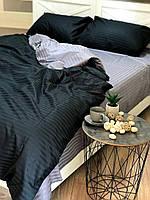 """Двухцветное хлопковое постельное белье из ткани страйп-сатин цветов """"черный + серый"""", фото 1"""