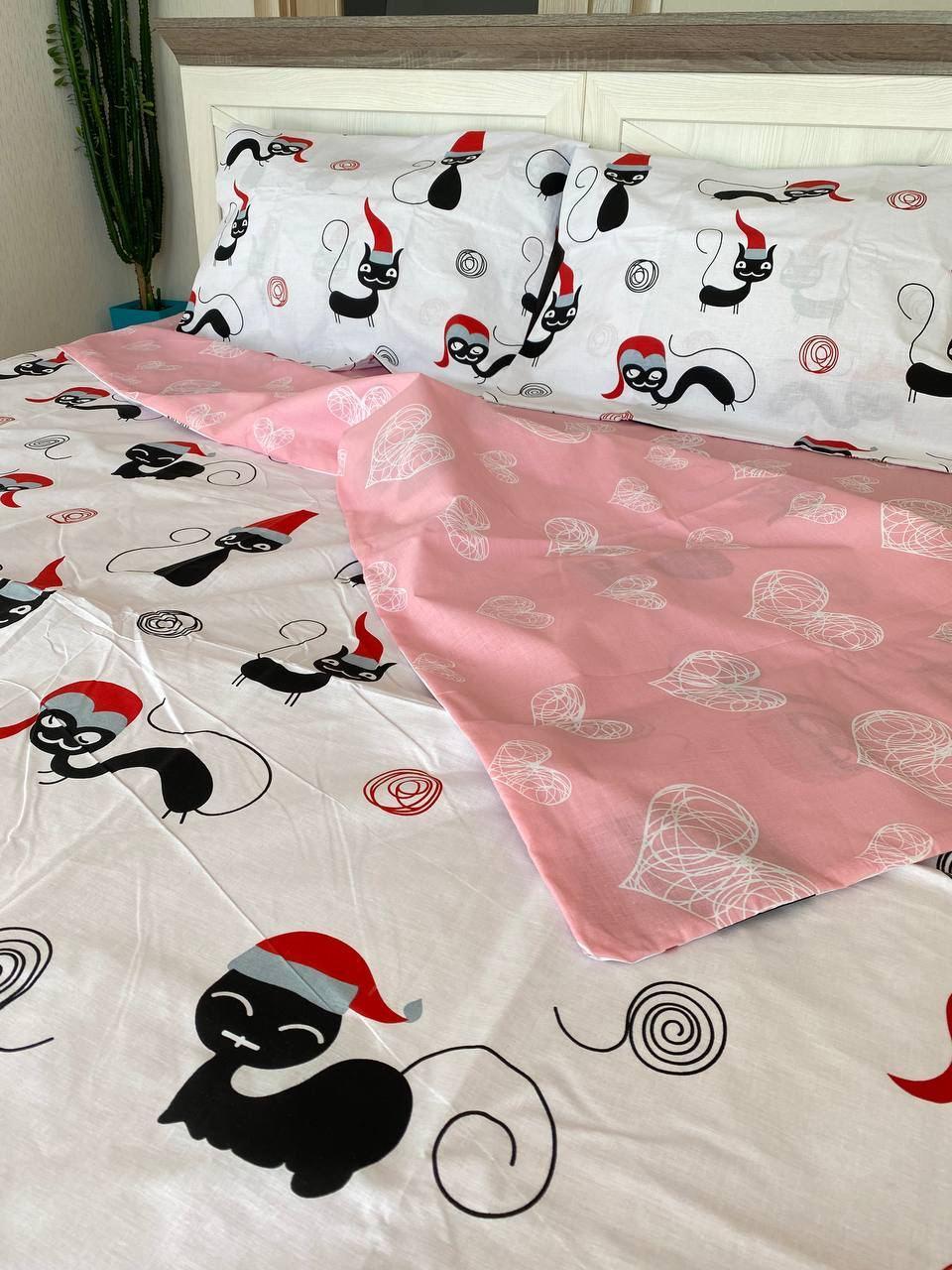 """Хлопковое постельное белье из ткани бязь расцветки """"Кот-санта"""""""
