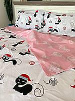 """Хлопковое постельное белье из ткани бязь расцветки """"Кот-санта"""", фото 1"""