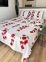 """Хлопковое постельное белье из ткани бязь расцветки """"Красные маки"""""""