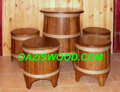 Мебель дубовая в бондарном стиле - из бочек. Для бани и сауны.