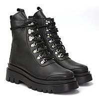 Ботинки женские кожаные черные на байке на платформе COSMO Shoes Dreaming Black Leather