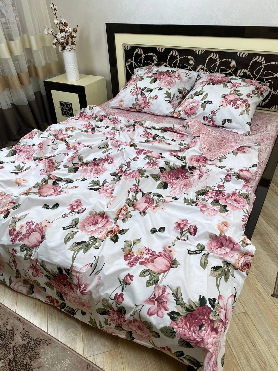 """Хлопковое постельное белье из ткани бязь расцветки """"Вилла роза"""""""